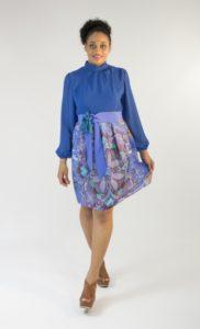 Robe courte, modèle vintage en crêpe et coton Bobine en Scène Bretagne, Quimper